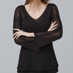 WHBM- v neck embroidered mesh top in black